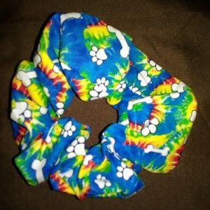 Rainbow tie dye  scrunchie paw prints